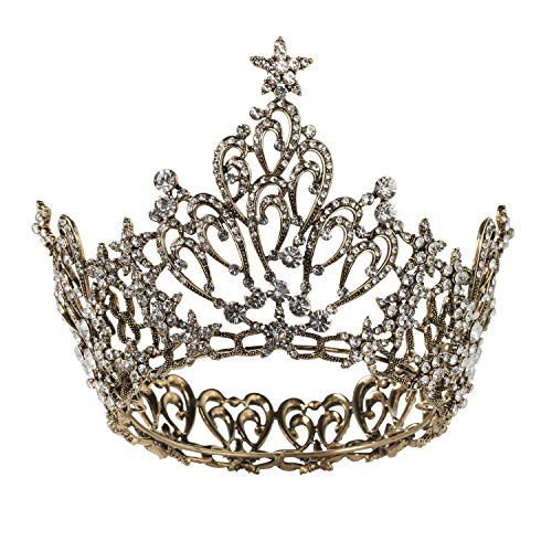 Beauty Pageant Queen Halloween Costume (SWEETV Vintage Queen Crown for Women, Black Pageant Crown Cake Topper Wedding Tiara Headband, Gothic Chic Costume Party Accessories for Prom Halloween)