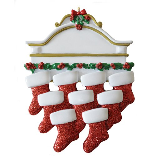 Ornament Mantle (Personalized White Mantle Family of 9 Christmas Ornament for Tree 2018 - Garnished Fireplace Glitter Stockings - Parent Children Friend Winter Activity Tradition Grand-Kid - Free Customization (Nine))