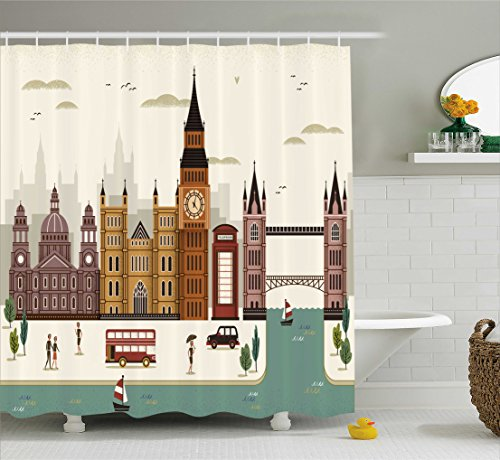 Ambesonne London Shower Curtain, Attractive Travel Scenery Famous City England Big Ben Telephone Booth Westminster, Fabric Bathroom Decor Set with Hooks, 75 Inches Long, (Big Ben Travel)