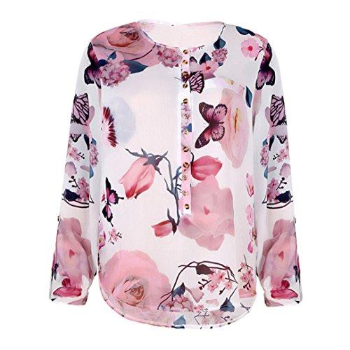 Automn Blouse Blanc Haut Pas XL Shirt QinMM Chic Cher Slim Fleur Dentelle Pullover Grande Tops Mode Manches Button Femmes Soire Longues S T Taille Chemisier Tunique Lche Col lgant V Impression OAqwBXE