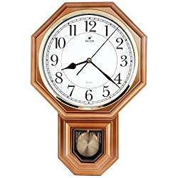 JUSTIME Traditional Schoolhouse Easy to Read Pendulum Plastic Wall Clock Chimes Every Hour with Westminster Melody Made in Taiwan, 4AA Batteries Included (PP0262-A Vintage Copper)