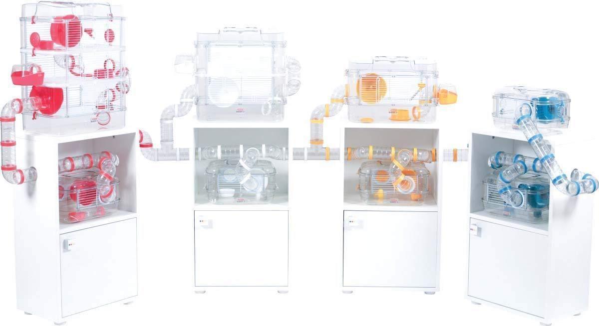 Gabbia Habitat per Criceto MOD 40x26x53h con Tubi e Giochi RODY 3 Trio Colore Bianco Completa di Accessori Mis