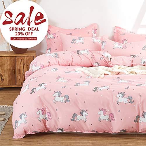 Uozzi Bedding Kids Pink Unicorn 3 Piece Twin Duvet Cover Set - 1duvet Cover+2 Pillow case - Polyester 800 TC Cute Hypoallergenic Comforter Cover with Zipper Closure 4 Corner Ties (Pink Unicorn, Twin)