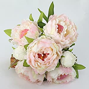 FYYDNZA Artificial Peony Flower Silk Flowers Simulation Peony Flower Bouquet Fake Leaf Wedding Home Party Decor 32