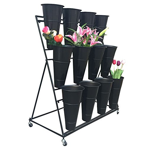 Cart Metal Iron Wrought - Flower Stand, Wrought Iron Flower Stand with Flower Pot, Florist Shelf, Flower Bucket Display Stand #++