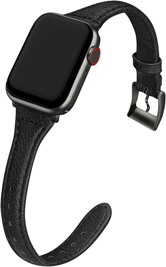MARGE PLUS Compatible Apple Watch Band 42mm 44mm Women, Slim Genuine Leather Watch Strap Replacement for iWatch SE Series 6 5 4 3 2 1, (Black Band paired with Black Adapter)