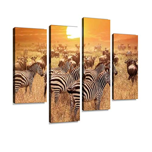 Zebra at Sunset in The Serengeti National Park. Africa. Tanzania. Canvas Wall Art Painting Pictures Modern Artwork Framed Posters for Living Room Ready to Hang Home Decor 4PANEL