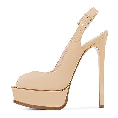 3a03bc90c37b17 FSJ Women Sexy Peep Toe Stilettos Pumps with Platform High Heels Slingback  Sandals Size 10 Beige