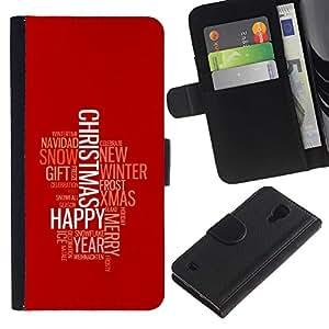 YiPhone /// Tirón de la caja Cartera de cuero con ranuras para tarjetas - FELIZ FELIZ NAVIDAD - Samsung Galaxy S4 IV I9500