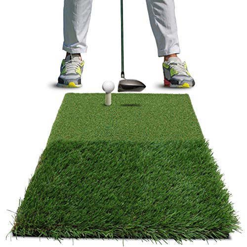 Rukket Golf Hitting Grass Mat Realistic Fairway Rough Portable Driving, Chipping, Training Aids, Equipment for Residential Backyard Indoor Practice with Rubber Tee Balls
