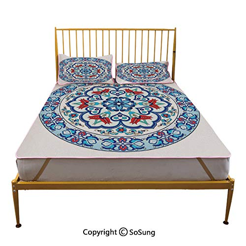 - Antique Decor Creative Queen Size Summer Cool Mat,Ottoman Turkish Style Art with Tulip Period Ceramic Floral Art Elements European Touch Print Sleeping & Play Cool Mat,Multi