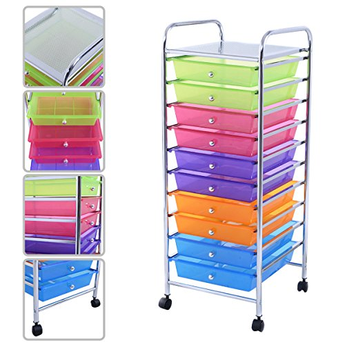 KAYSEV 10 Drawer Rolling Storage Organizer Cart, Multi-Purpose Scrapbook Paper Office School Utility Organizer Rainbow, Tray Drawer Multi-Colored