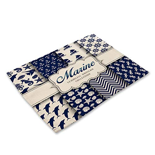 (Placemats Set Of 1, Cotton Table Mats Placemats For Kitchen Dining Table Decoration - Marine Anchor Whale Seahorse Starfish Navy Blue White)