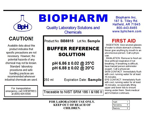 Biopharm Buffer Calibration Kit (3) 250 ml (8oz) Bottles pH 4.00, pH 6.86 and pH 9.18 NIST Traceable Reference Standards for All pH Meters by Biopharm (Image #3)