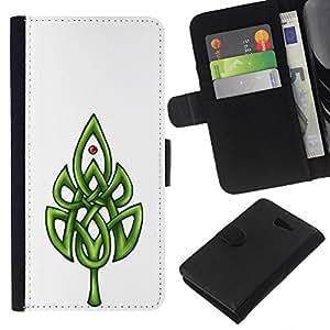 Celtic Modelo blanco minimalista Limpio- la tarjeta de Crédito Slots PU Funda de cuero Monedero caso cubierta de piel Para Sony Xperia M2