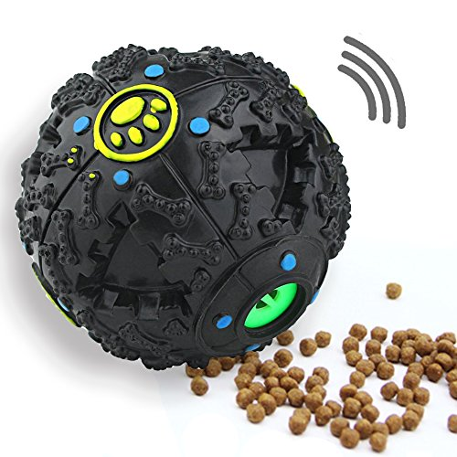 Link Echomaps IQ Treat Ball Interactive Food Dispensing Dog Toy, Puppy Training Toys Pet Sound Ball, Squeaky Chew Balls (4.7'' Large) Black