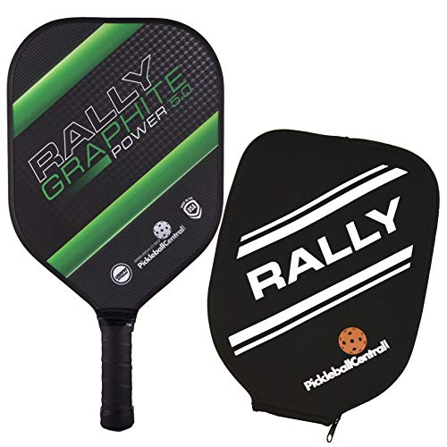 - Pickleball Paddle - Rally Graphite Power 5.0 | Honeycomb Core, Graphite/Poly Hybrid Composite Face | Paddle Cover Included |Green/Thin Grip