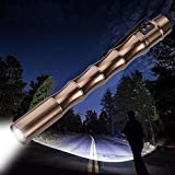 Mini Golden Flashlight, 1000LM CREE XP-E R2 Pocket Torch Light, Great for Carrying Around (Battery not included)