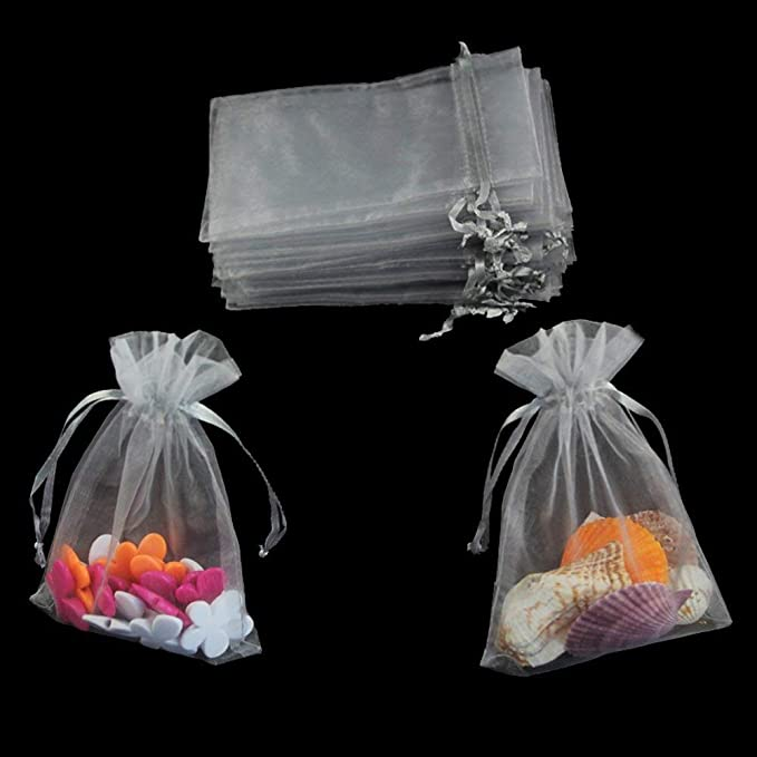 100 Grey Organza Gift Wedding Favors Bag Pouch 90x70mm HOT T7F3