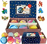 Kids Bath Bombs with Toys Inside - All Natural w/Shea Butter and Essential Oils. Gentle and Kid Safe, Gender Neutral, Bubble Bath Fizzies with Surprise Inside. Christmas Gift Set for Girls and Boys