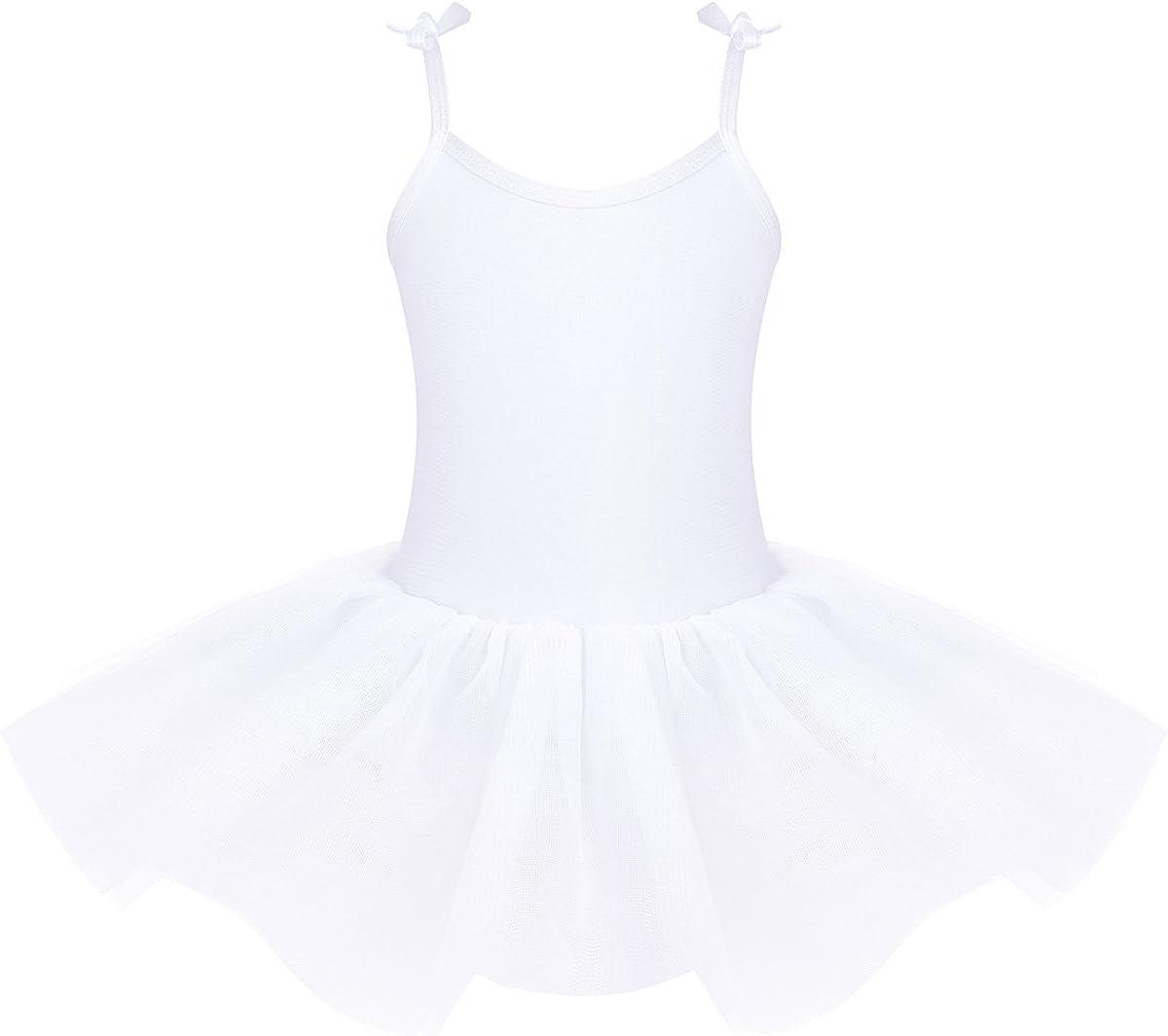 iiniim Petit Enfant Justaucorps de Ballet Gym Danse Classique L/éotard Tutu Fille Robe /à Bretelles Princesse Plage Mariage Bal Performance Lacets Uni Moulant /Ét/é 4-12 Ans