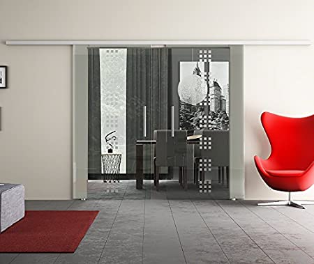 Puerta Corredera de Cristal Doble con Dos Discos Puerta Corredera de equipo completo con carril de unidad & Barra asas & Diseño: rekursiv (R) – Dorma Agile 50 Herraje – Fabricado en