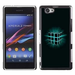 Be Good Phone Accessory // Dura Cáscara cubierta Protectora Caso Carcasa Funda de Protección para Sony Xperia Z1 Compact D5503 // Glowing Rubik's Cube