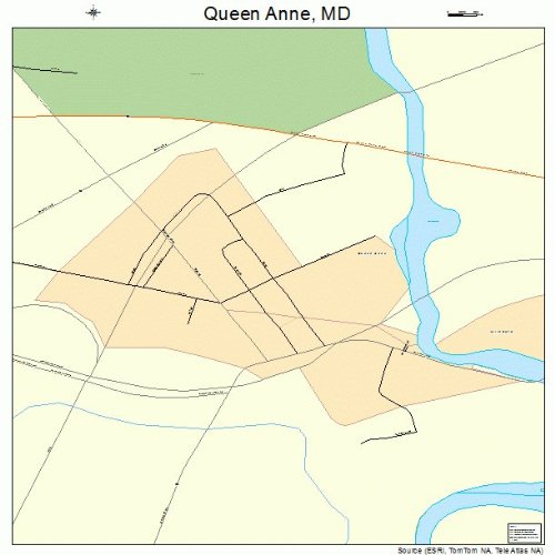 Large Street & Road Map of Queen Anne, Maryland MD - Printed poster size wall atlas of your home - Md Queens Town