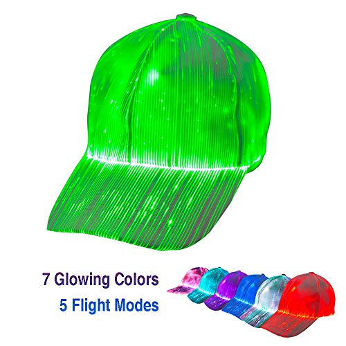 1clienic Luminous LED Baseball Cap 7 Colors Glow Hat Unisex DJ Light Up Rave Fiber Optic LED EDC Hats Rave Concert Cosplay Accessories Men Women Boys ()