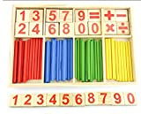 Elloapic 40PCS Wooden Number Sticks + 16PCS Bricks Blocks Mathematics Educational Aids for Kid Child Maths Counting Color Early Education Learning Knowing
