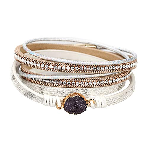 - DFYtr511po Retro Bracelet Fashion Wild Multi-Layer Velvet Leather Magnetic Buckle Bracelet Jewelry White