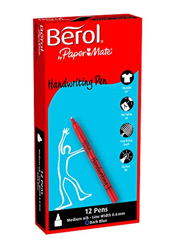 Box of 12 Blue Berol Handwriting Pen Clip Cap Medium Nib 0.6mm