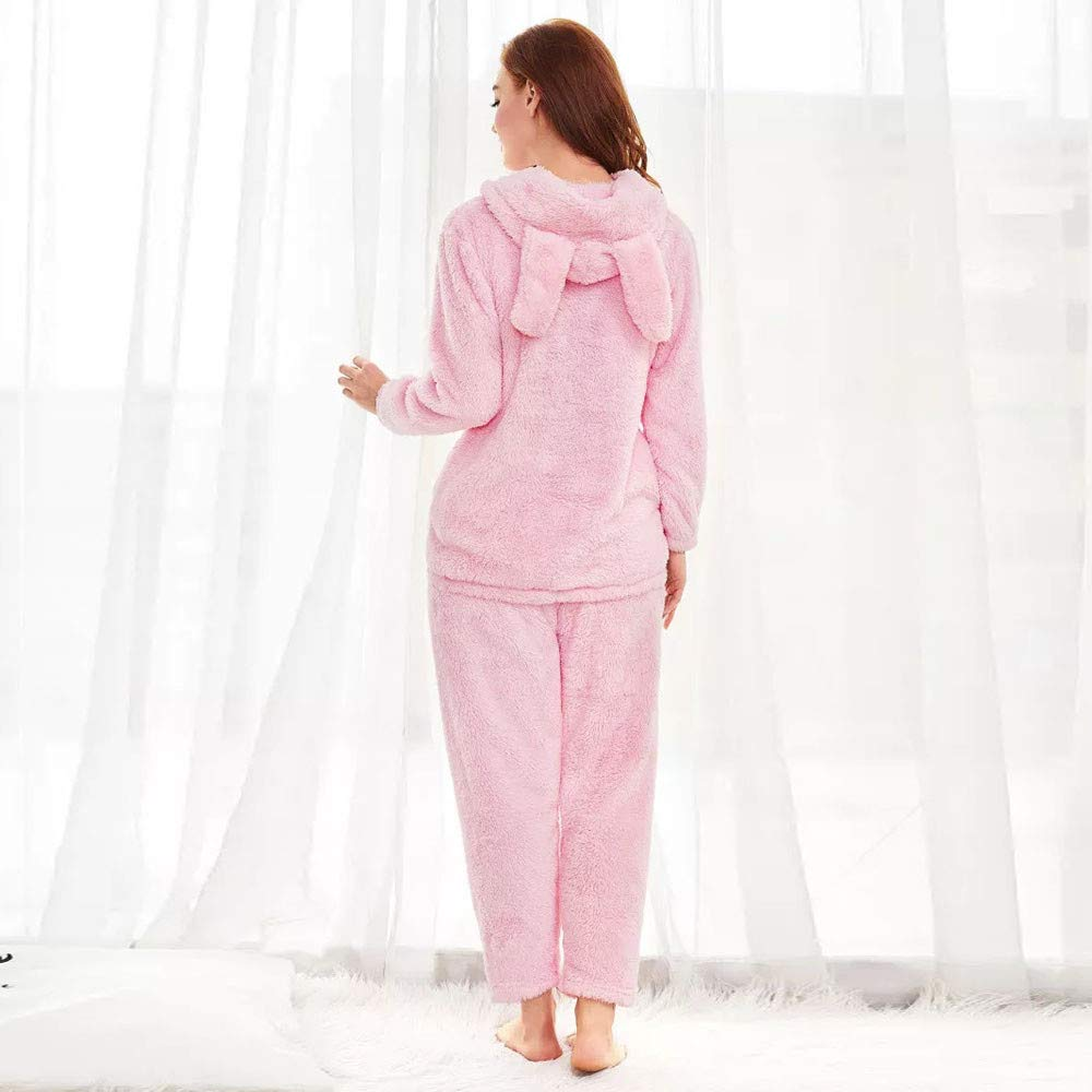 ed1273825d7 Newkelly Women Winter Fleece Rabbit Hooded Sleepwear Indoor Home Shirt  Pants Pajama Set at Amazon Women s Clothing store