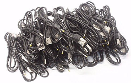 100 Lot USB to Yellow Barrel Tip Plug Sync Charger Cables 2.5mm ()