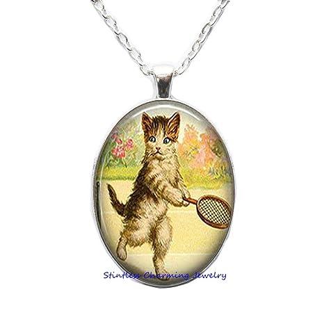Amazon.com: Colgante de gato de tenis, joyería de gato ...