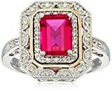 art deco ruby ring - Sterling Silver and 14k Yellow Gold Created Ruby and Diamond Art Deco Ring, Size 7