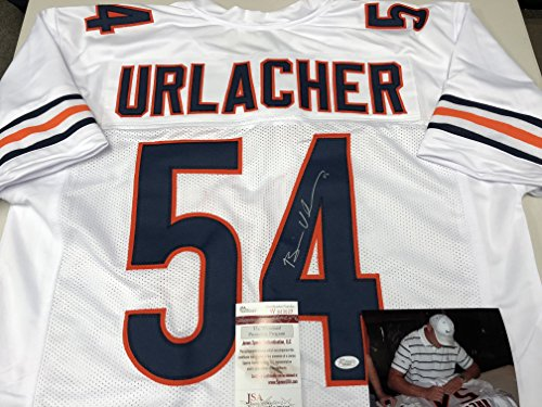 Brian Urlacher Autographed Signed Chicago Bears White Custom Jersey JSA Witnessed COA & Hologram W/Photo From Signing - Brian Urlacher Autographed Jersey