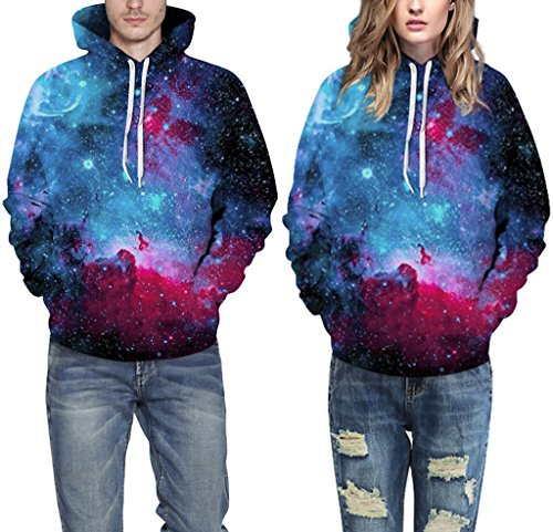 Pretty321 Women Girl 3D Galaxy Stars Unisex Hoodie Sweatshirt w/ Pocket Collection Blue & Red Purple Galaxy