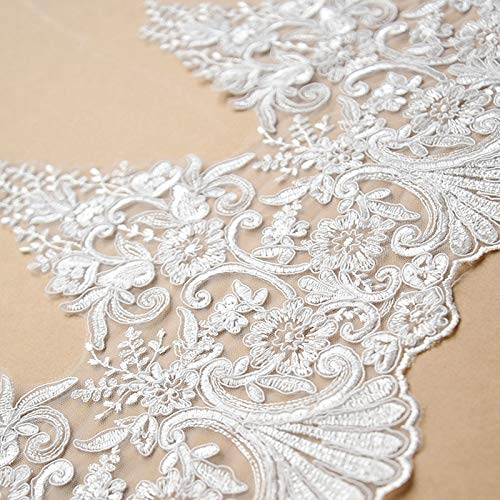 (Laliva 1Yard/Pack Refined Luxury White European Embroidery Wedding Veil Lace Trim Handmade DIY Materials Lace Fabric Decor Accessories - (Color: Off White))