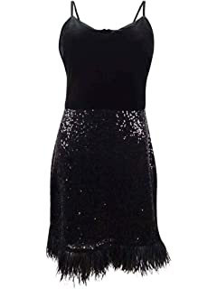 Guess Women/'s Sequin Fringe Bodycon Dress 12 Black//Navy