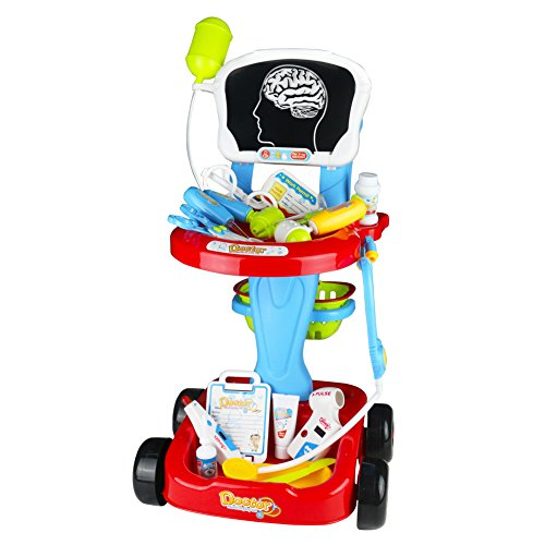 Jerryvon Doctor Kit Pretend Play Toy Nurse Medical Playset Role Play Game Hospital Care Cart Great Teaching Toy for Kids Girls Boys Aged 3 and Up