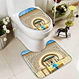 SOCOMIMI 2 Piece Toilet mat Set Traditional Moroccan Architecture in African Islamic East Style with Carving and Flower Photo 2 Piece Shower Mat Set