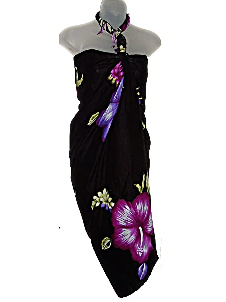 c78177bf7e HAWAIIAN BLACK W PURPLE HIBISCUS FLOWERS SARONG BEACH WRAP SWIMSUIT COVER UP  at Amazon Women s Clothing store  Fashion Swimwear Cover Ups