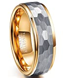 Nuncad Classic Gold Tone Faceted Tungsten Rings for Men 8mm Hammered Comfort Fit Size 11