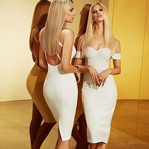 HLBandage Women Slash Neck Off Shoulder Midi Bandage Dress Blanco