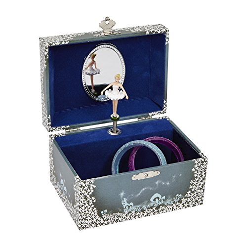 JewelKeeper Girl's Musical Jewelry Storage Box with Twirling Fairy Blue and White Star Design, Swan Lake Tune - Moonlight Design