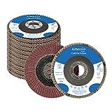 "amoolo Flap Disc 4-1/2 inch 7/8"" Aluminum Oxide Angle Grinder Sanding Disc 60 Grit Grinder Disc T29-10 Pack"