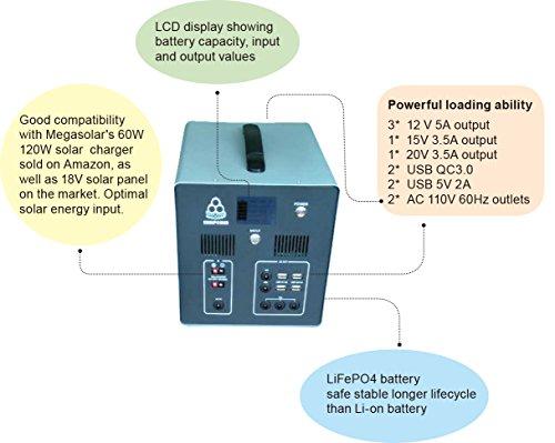 MEGASOLAR 300W Solar Generator Solar System with 288Wh LiFePO4 battery, Solar & AC Input, 300w 110v AC Inverter 4 USB 2 QC3.0 312v 15v 20v DC output, TFT Display, charged by Solar Charger Solar Panel by SZMJSOLAR (Image #4)