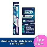 Oral-B Cepillo Ortodoncia y Hilo Dental Super Floss, 50 m