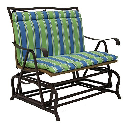 Blazing Needles Outdoor Spun Polyester Settee Bench Seat and Back Cushion, Westport Teal - Westport Settee